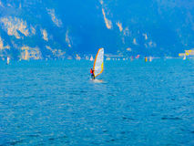 Torbole -A windsurfing on Lake Garda in Torbole royalty free stock photos