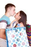torby dobierają się szczęśliwego całowanie Fotografia Stock