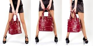 torby dziewczyny czerwień Obraz Royalty Free