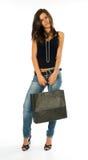 torby dziewczyny mienia zakupy potomstwa Obrazy Royalty Free