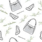 Torby i buty kolekcja nowa bezszwowy wzoru Obraz Royalty Free