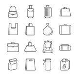 Torby ikony kreskowy set Zawrzeć ikony jako plastikowy worek, walizka, bagaż, bagaż i więcej, obraz royalty free