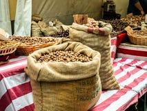Torby kasztanów orzechów włoskich arachidy zdjęcie royalty free