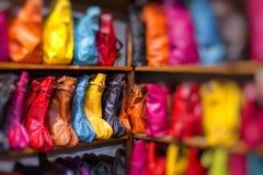 Torby, kiesy, kapelusze i inni produkty Marokańska skóra fa, Obrazy Stock