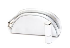 torby kosmetyków pomadki biel Fotografia Stock