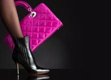 torby mody fotografii czerwieni kobieta Obraz Stock