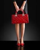 torby mody fotografii czerwieni kobieta Obrazy Stock