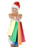 torby piękna koloru dziewczyny kapelusz Santa Zdjęcia Royalty Free