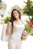 torby piękny kwiatu dziewczyny zakupy Fotografia Stock
