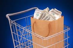 torby pieniędzy wózków Zdjęcia Royalty Free