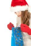torby przewożenie ubierał dziewczyny kapeluszowego Santa zakupy Zdjęcie Stock