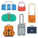 Torby, walizka i plecak, barwią płaską wektorową ilustrację Obraz Royalty Free