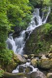 Torc Waterfall. Killarney, Co Kerry, cascades down the mountain side over moss covered rocks amid the trees and bushes of Ireland's native woodland. A long Stock Images
