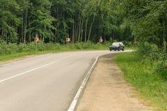 Torcendo a estrada entre as árvores Imagens de Stock