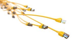 Torcer los cables amarillos de Internet el ejemplo conceptual 3d del cable de Ethernet y rj-45 tapan Fotos de archivo libres de regalías