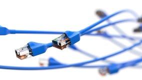 Torcer los cables azules de Internet el ejemplo conceptual 3d del cable de Ethernet y rj-45 tapan Fotografía de archivo libre de regalías