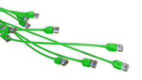 Torcer los cables verdes de Internet el ejemplo conceptual 3d del cable de Ethernet y rj-45 tapan Fotografía de archivo libre de regalías