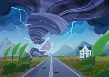 Torcer tornado sobre el camino que destruye el edificio civil Tormenta del huracán en paisaje del campo Desastre natural Fotografía de archivo libre de regalías