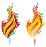 Torch. Two version ornament torch pattern design stock illustration