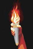 Torch. Human hand with a torch, vector illustration Stock Images