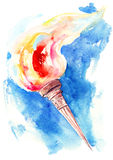 Torch. Beautiful holiday torch with fire Royalty Free Stock Photography