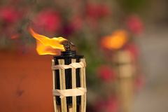 Torch. Flaming torch focused (another one at background royalty free stock images
