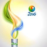 Torch с пламенем в цветах бразильского флага Стоковые Фотографии RF