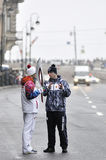 Torch bearer Sochi 2014 in Saint Petersburg, Russia Royalty Free Stock Image