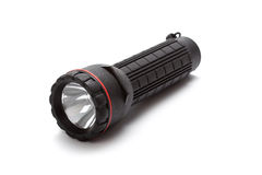 Torch - Black flashlight Stock Images