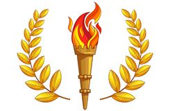The torch with burning fire, golden laurel branch. Torch with burning fire and golden laurel around on a white background. Isolated object. The symbol of sports royalty free illustration