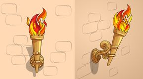 The torch with burning fire, the ornate decor, day. Torches with burning fire side view and frontal with ornate decor. Demountable golden torch in a holder royalty free illustration