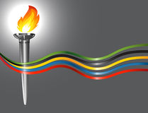Torch with the colors of the five continents Royalty Free Stock Image
