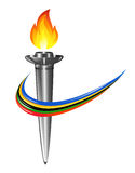 Torch with the colors of the five continents Royalty Free Stock Photography
