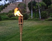 Torch. Fiery torch with blurred background on a cool summer night in California royalty free stock image