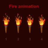 Torch fire animation sprites, flame video frames. For game design Stock Image