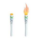 Torch fire, championship icon, a symbol of victory. Isolated vector illustration. Royalty Free Stock Photos