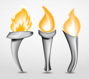 Torch with flame Stock Photo