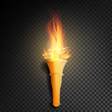 Torch With Flame. Burning In The Dark Transparent Background Realistic Torch With Flame. Vector Illustration Royalty Free Stock Photo