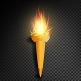Torch With Flame. Burning In The Dark Transparent Background Realistic Torch With Flame. Vector Illustration. Torch With Flame. Realistic Fire. Realistic Fire Stock Image