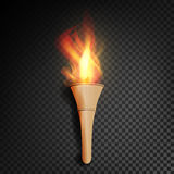 Torch With Flame. Burning In The Dark Transparent Background Realistic Torch With Flame. Vector Illustration Stock Photo