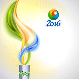 Torch with flame in colors of the Brazilian flag Royalty Free Stock Photos