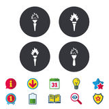 Torch flame icons. Fire flaming symbols. Hand tool which provides light or heat. Calendar, Information and Download signs. Stars, Award and Book icons. Light Royalty Free Stock Photos