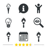 Torch flame icons. Fire flaming symbols. Royalty Free Stock Image