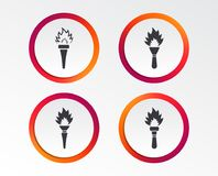 Torch flame icons. Fire flaming symbols. Hand tool which provides light or heat. Infographic design buttons. Circle templates. Vector Royalty Free Stock Image