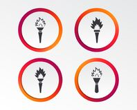 Torch flame icons. Fire flaming symbols. Hand tool which provides light or heat. Infographic design buttons. Circle templates. Vector Stock Photos