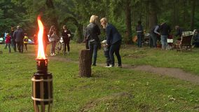 Torch flame and people celebrate annual midsummer day. Traditional pagan holiday stock video footage