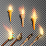 Torch With Flame. Realistic Fire. Realistic Fire Torch Isolated On Transparent Background. Vector Illustration Stock Images
