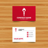Torch flame sign icon. Fire symbol. Business card template. Torch flame sign icon. Fire flaming symbol. Phone, globe and pointer icons. Visiting card design Royalty Free Stock Images