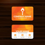 Torch flame sign icon. Fire symbol. Business or visiting card template. Torch flame sign icon. Fire flaming symbol. Phone, globe and pointer icons. Vector Stock Photography