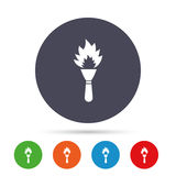 Torch flame sign icon. Fire symbol. Torch flame sign icon. Fire flaming symbol. Round colourful buttons with flat icons. Vector Royalty Free Stock Photo